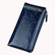 Tina Vintage Oil Wax Cowhide Zip Long Wallet Blue