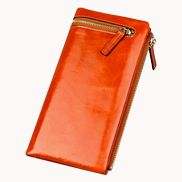 Tina Vintage Oil Wax Cowhide Zip Long Wallet Orange