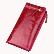 Tina Vintage Oil Wax Cowhide Zip Long Wallet Red