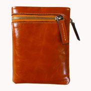 Tina Vintage Oil Wax Cowhide Zip Wallet Orange