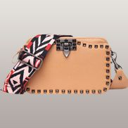 Rockstar Leather Cross Body Bag Beige
