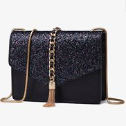 Sharon Flap Tassel Chain Bag Black