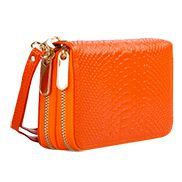 Super Organizer Purse Croc Effect Leather Orange