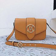 Valentina Leather Shoulder Bag Orange