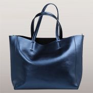 Vivi Leather Tote Bag Blue