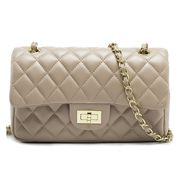 Adele Flap Medium Bag Faux Leather Beige Gold Hardware
