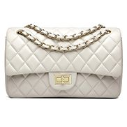 Adele Flap Medium Bag Faux Leather Cream Gold Hardware