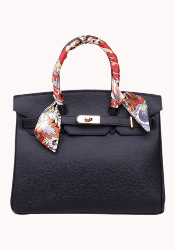 The Essential Jane Bag With Scarf Leather Black