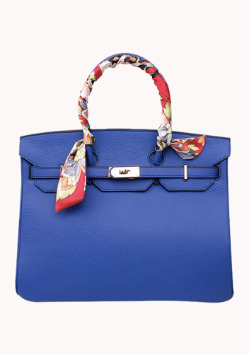 The Essential Jane Bag With Scarf Leather Blue