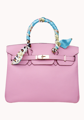 The Essential Jane Bag With Scarf Leather Cherry Pink