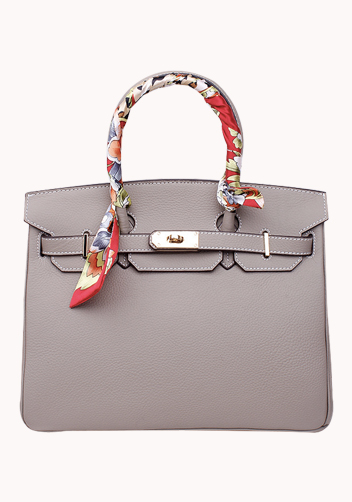 The Essential Jane Bag With Scarf Leather Grey