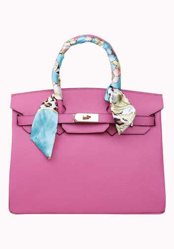 The Essential Jane Bag With Scarf Leather Hot Pink