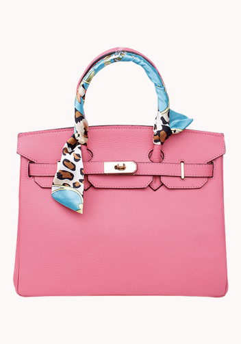 The Essential Jane Bag With Scarf Leather Lipstick Pink