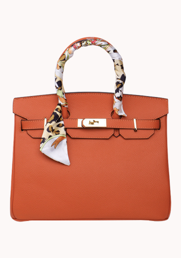 The Essential Jane Bag With Scarf Leather Orange