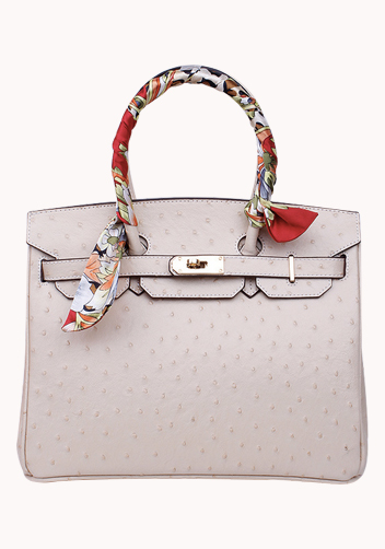 The Essential Jane Bag With Scarf Ostrich Leather Cream