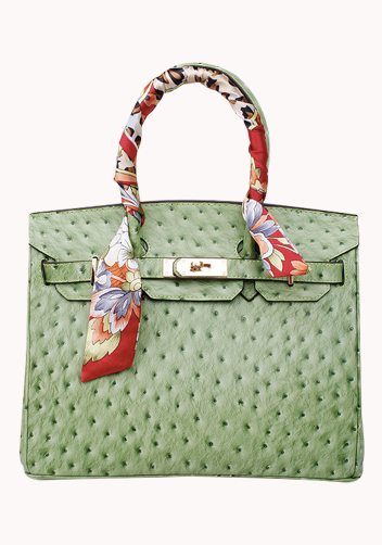 The Essential Jane Bag With Scarf Ostrich Leather Green