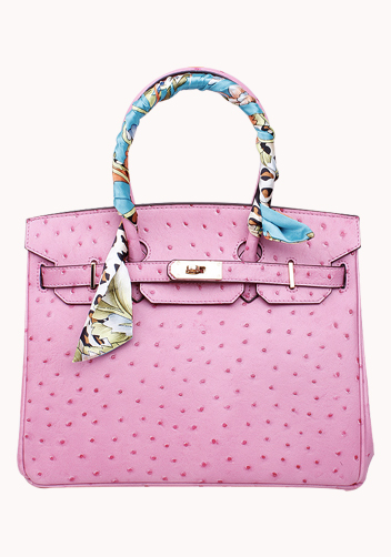 The Essential Jane Bag With Scarf Ostrich Leather Pink