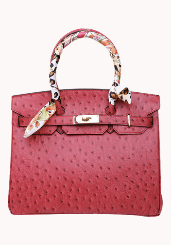 The Essential Jane Bag With Scarf Ostrich Leather Red
