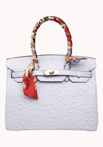 The Essential Jane Bag With Scarf Ostrich Leather White