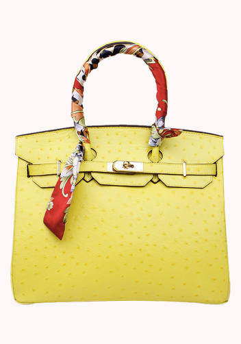 The Essential Jane Bag With Scarf Ostrich Leather Yellow