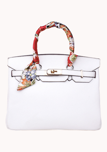The Essential Jane Bag With Scarf Leather White