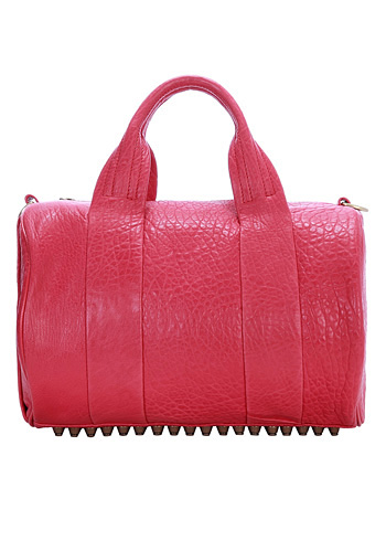 Baginc Alexa Duffle Studded Calfskin Leather Bag Pink