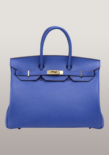 The Essential Jane Bag Leather Electric Blue Gold Hardware