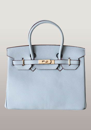 The Essential Jane Bag Leather Light Blue Gold Hardware